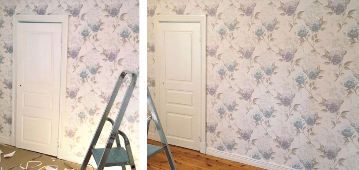 Blomstrande Hortensia-tapeter i sovrummet - Midbec Tapeter