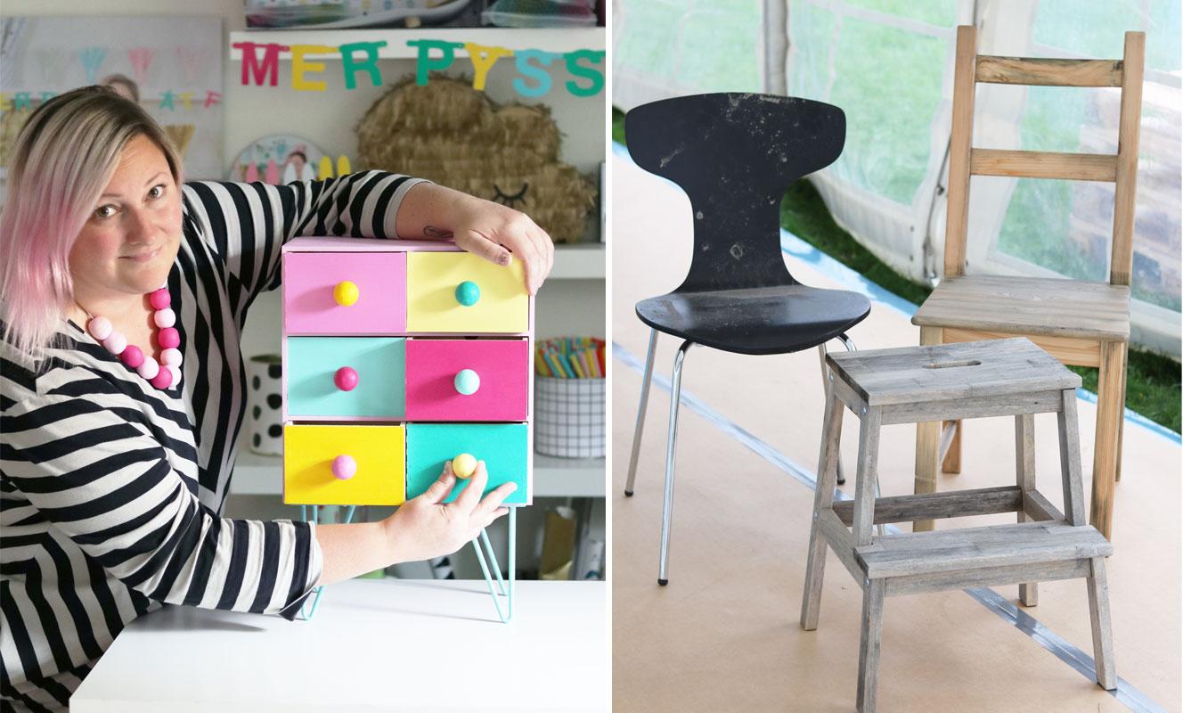 Kreativa Karins bästa diy-tips för slitna möbler - Midbec Tapeter : tapetsera möbler : Inredning